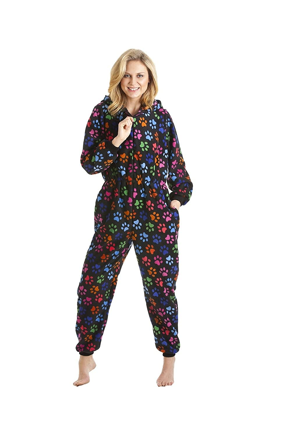 Camille Womens Ladies Black Colour Paw Print All In One Pyjamas