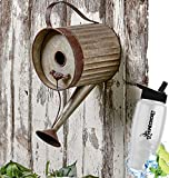 HomeCricket Gift Included- Decorative Rustic Country Decor Watering Can Garden Birdhouse + FREE Bonus Water Bottle by