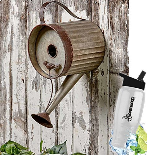 HomeCricket Gift Included- Decorative Rustic Country Decor Watering Can Garden Birdhouse + FREE Bonus Water Bottle by by HomeCricket