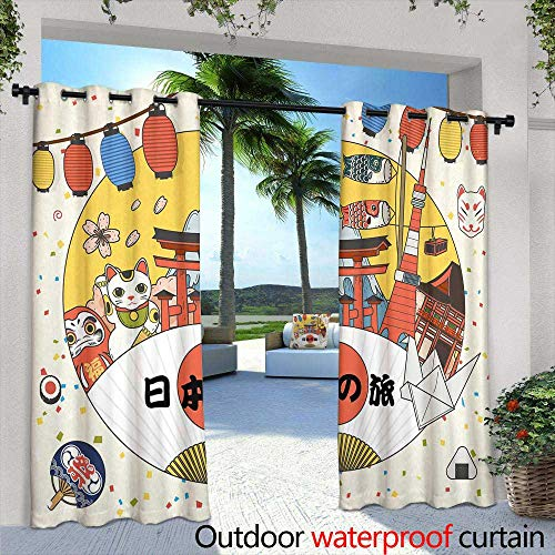 Rocky Patio Mountain Furniture - berrly Fashions Drape,Colorado Mountains Vista in Abstract Color Grading Rocky Mountain,W96 x L96 Outdoor Patio Curtains Waterproof with Grommets