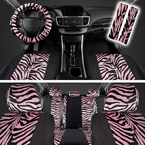 ComfySeats Velvet Animal Car Seat Covers Two Tone Hot Pink Zebra Accent on Black