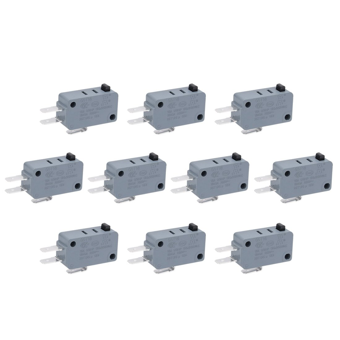 Uxcell a11042900ux0112 G5T16-E1Z200 Electric 1NO 1NC Contacts Push Button Micro Switch Black (Pack of 10)
