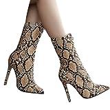 Women Pumps Snakeskin Pattern Boots Pointed Toe Zip