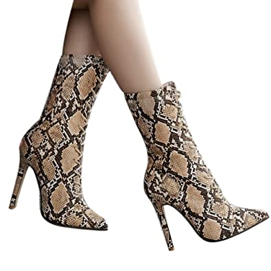 1f7fb3fbc3 BANAA Women High Heels Shoes, Pumps Snakeskin Pattern Boots Pointed Toe  Boots with Zip Thin