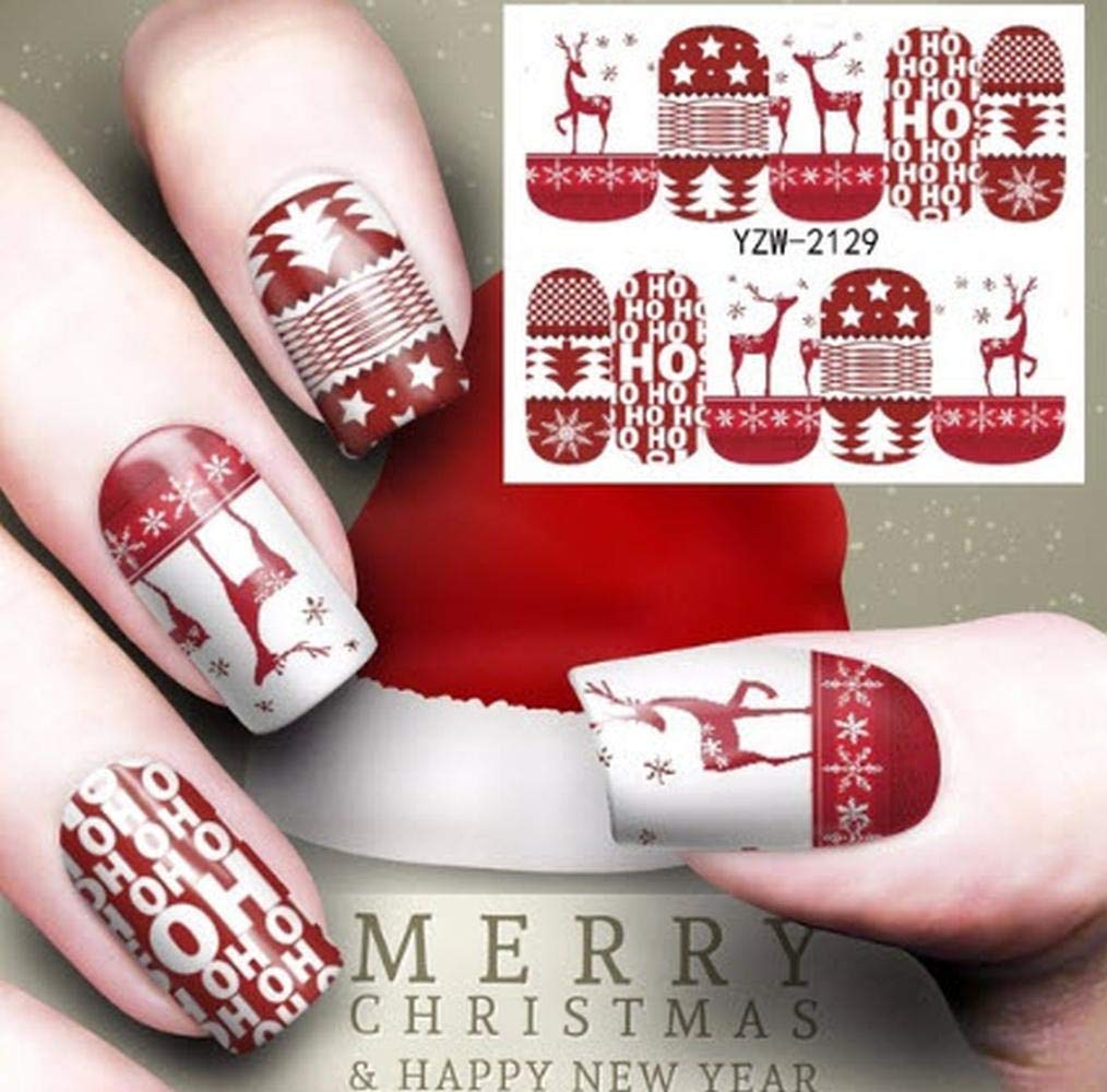 Plus Size Appeal Full Sheet White Red Christmas Deer Nail Stickers - Salon Quality Nail Art Nail Wrap Nail Decals - 1 Sheet