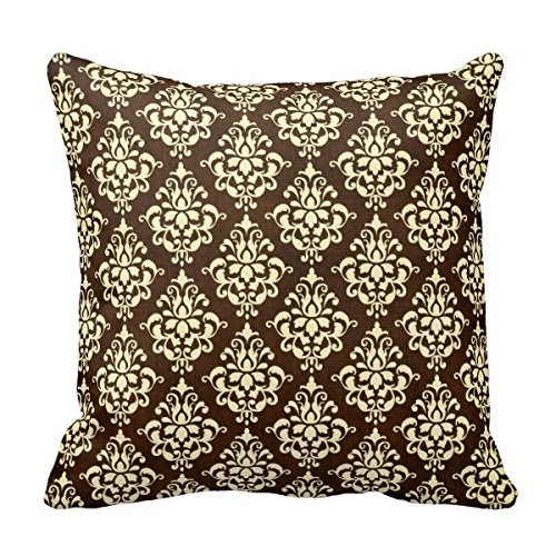 Home Decorative Chocolate Brown And Cream Damask Throw Pillow Throw Pillow Cover Cushion Case 18