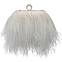 keland Bolso de hombro de embrague de plumas de avestruz real
