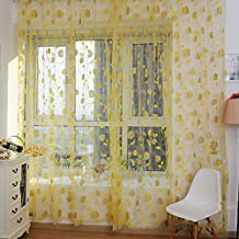 Forart Bronzing Rose Flower Window Curtain Panel Sheer Scarfs Living Room Bedroom Decor Tulle Yellow