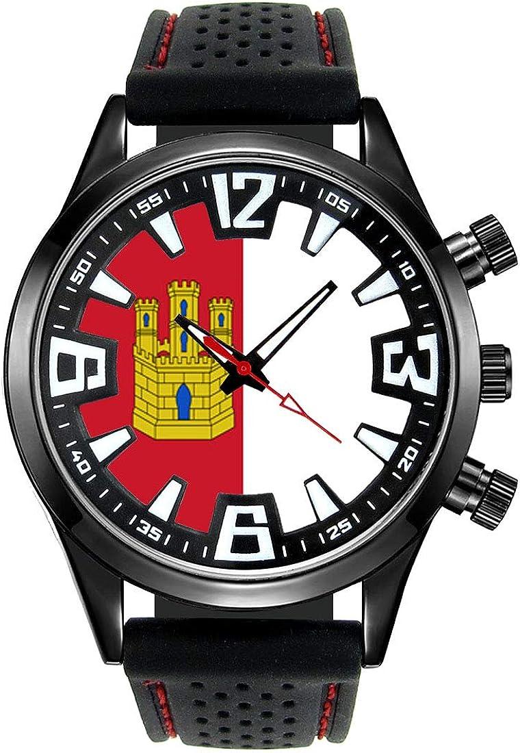 Timest - Bandera de Castilla La Mancha España - Reloj para Hombre con Correa de Silicona Negro Analógico Cuarzo SF520: Timest: Amazon.es: Relojes