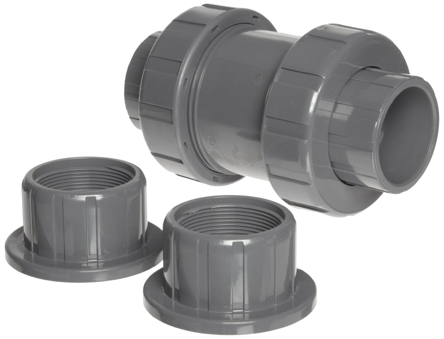 Hayward TC20125STE Series TC True Union Ball Check Valve, Socket/Threaded End, CPVC with EPDM Seals, 1-1/4'' Size