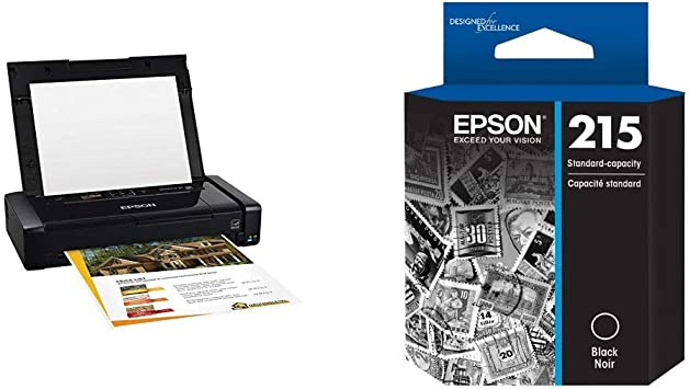 Epson WorkForce WF-100 Wireless Mobile Printer and T215 Standard-capacity Black Ink Cartridge