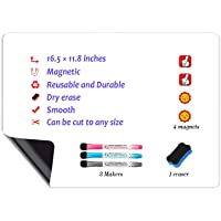 Magnetic Dry Erase Whiteboard Sheet for Fridge 16.5x11.8 inches