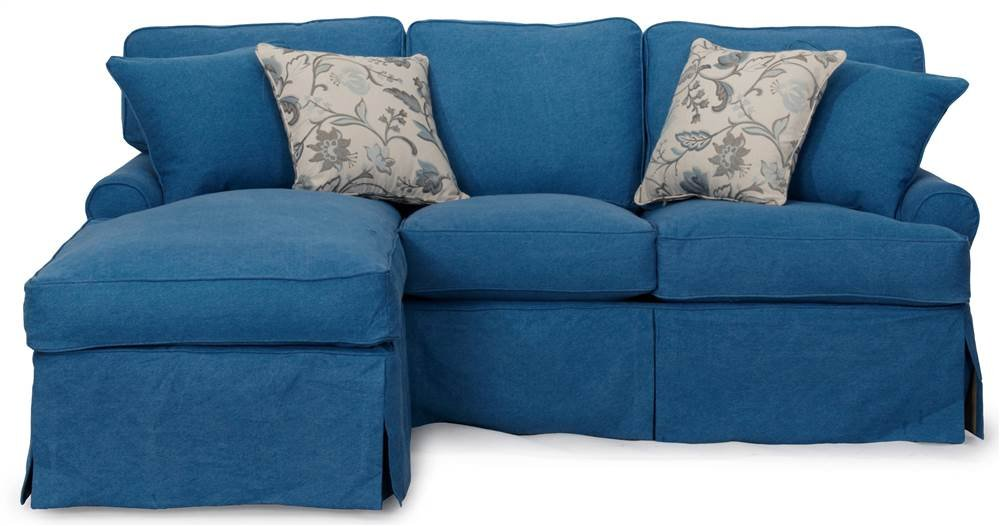 4-Pc Sleeper Sofa and Chaise Slip Cover Set in Indigo Blue