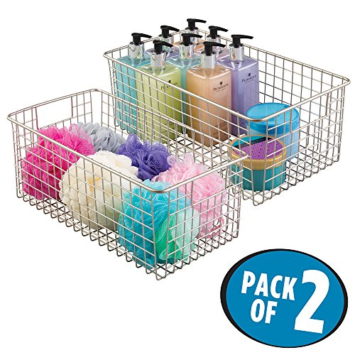 mDesign Wire Storage Basket for Bath Towels, Shampoo, Health and Beauty Supplies - Pack of 2, Wide, Satin (Health & Beauty Supplies)