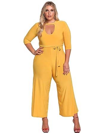 0f5ed77264c Women s Plus size Wide Leg Jumpsuit 3 4 Sleeve Rompers Pant Suit with Belt  Mustard