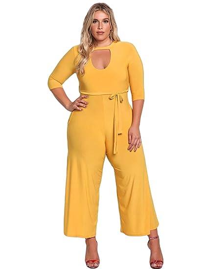 7cc2cca0f Women s Plus size Wide Leg Jumpsuit 3 4 Sleeve Rompers Pant Suit with Belt  Mustard