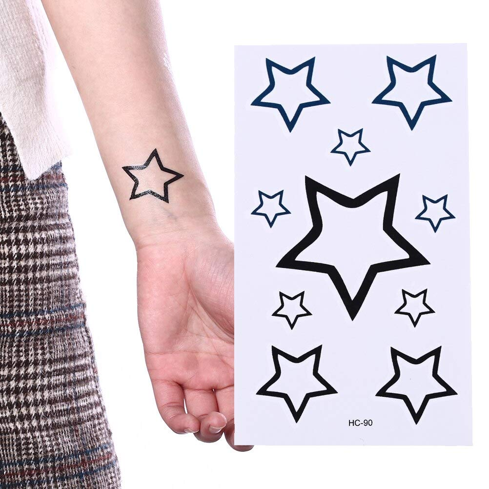 Zzebra 1 Sheet Five Pointed Star Tattoo Chain Arm Girl Small Size Tatto Stickers Flash Tatoo Fake Tattoos Waterproof Temporary Tattoo Amazon In Beauty