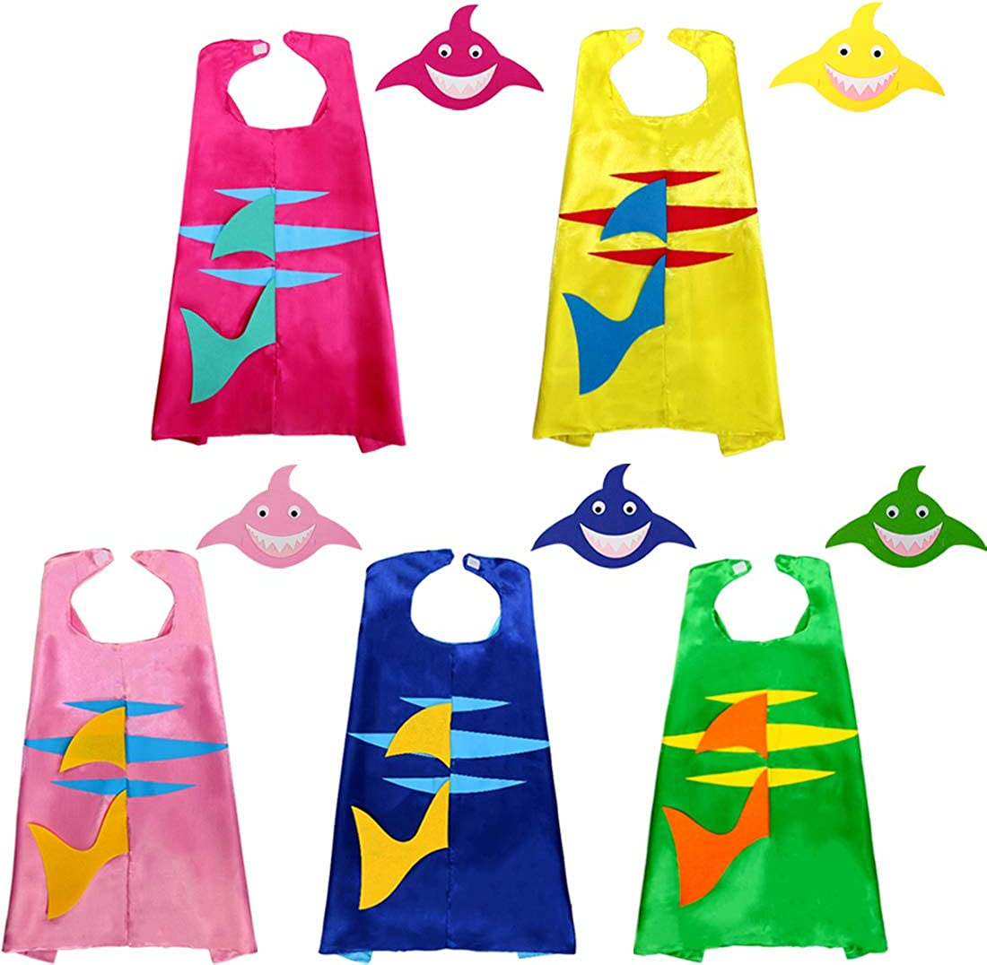 Mifun 5 Pcs Family Shark Costumes for Kids Superhero Capes and Masks for Ocean Sea Animal Party Favors