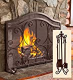 Large Crest Flat Guard Fireplace Screen And Tool Set, in Copper finish