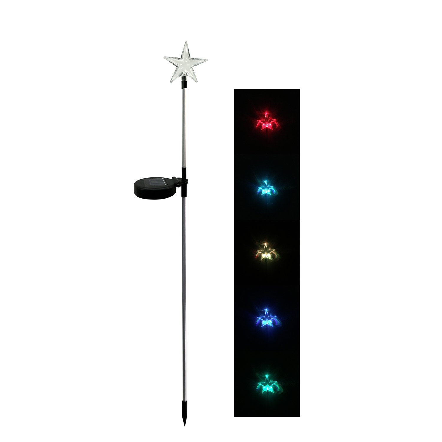 Celestial Star Solar Light Garden Stakes LED Multi-Color Changing Path Light Outdoor Decorative Figurines, Pack of 2
