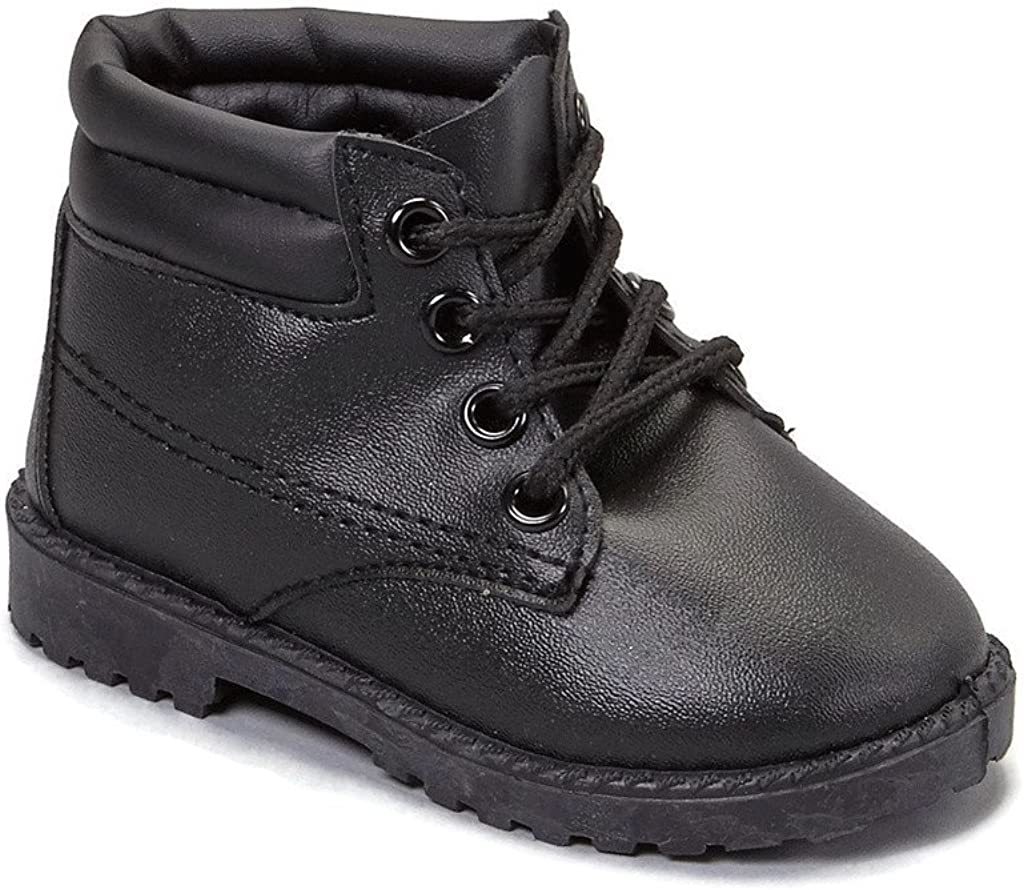 NEW Children/'s Beige or Black Smooth Work Boots Boys Infant//Toddler Sizes 1-10