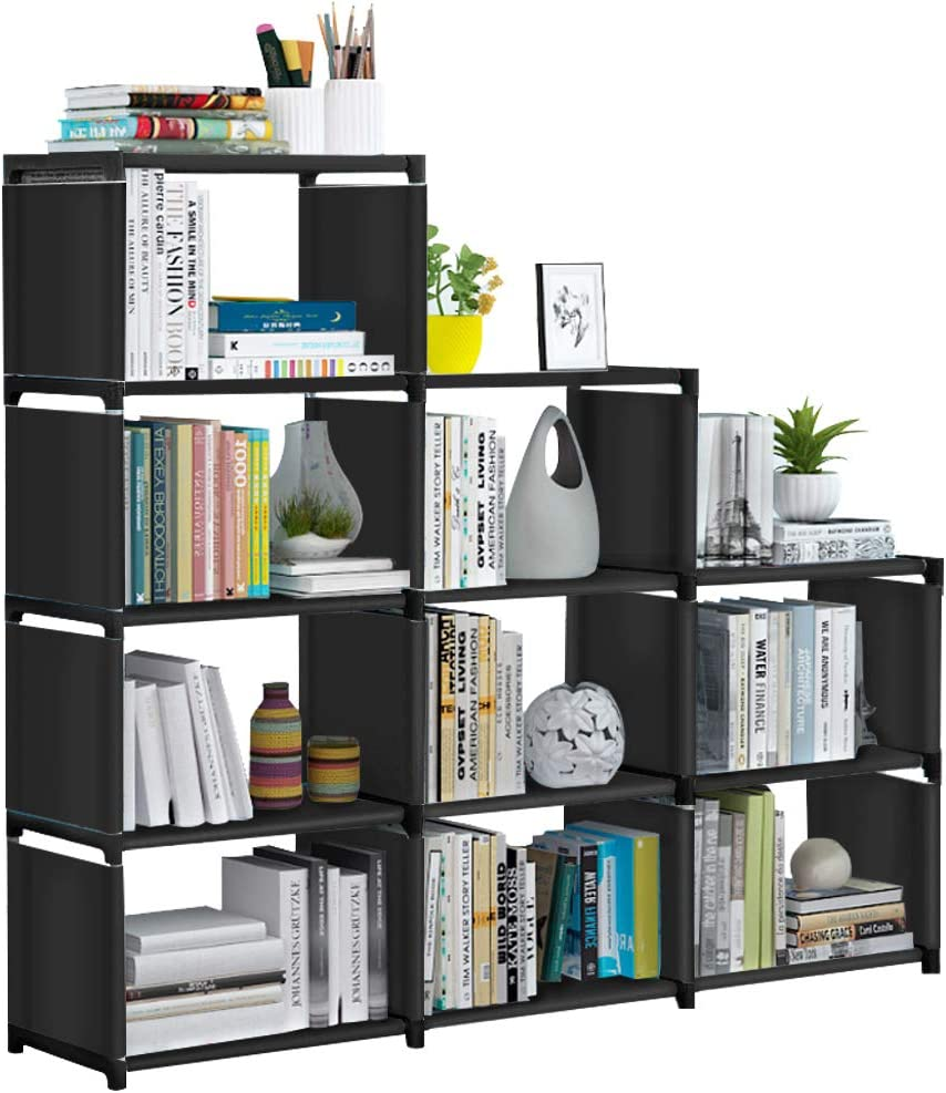 VOJUEAR DIY 9-Cubes Closet Storage Bookcase Organizers for Kids,Bookshelf with for Home,Office,Bedroom,Home Furniture Storage (Black)