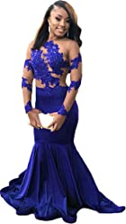 eab842d99763 Graceprom Women's Lace Appliques Halter Mermaid Prom Dresses Backless  Evening Party Gown Court Train