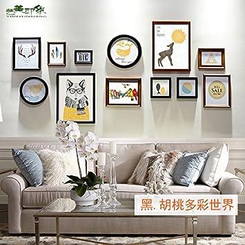 Retro High End Composite Massivholz Foto Wand Dekoration Ideen Wohnzimmer  Sofa Hintergrund Bilderrahmen Bilderrahmen Wand