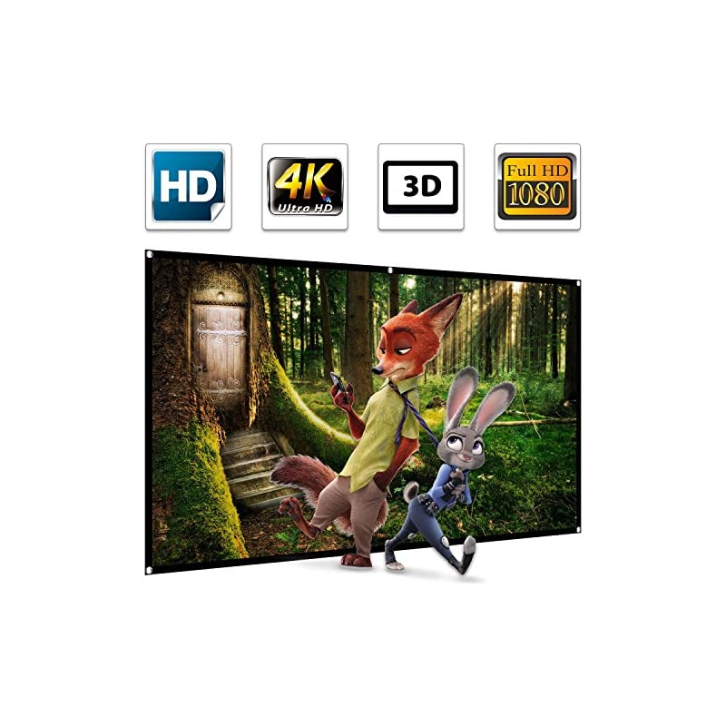 """100"""" Projector Screen,100 inch Projection Screen 16:9 HD 4K Ultra HDR 3D Ready 1.3 Gain Foldable Anti-crease Home Theater Indoor Outdoor Portable Projector Movie Screen Support Double Sided Projection"""