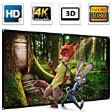100'' Projector Screen,100 inch Projection Screen 16:9 HD 4K Ultra HDR 3D Ready 1.3 Gain Foldable Anti-crease Home Theater Indoor Outdoor Portable Projector Movie Screen Support Double Sided Projection