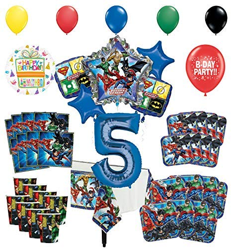 Justice League 5th Birthday Party Supplies 8 Guest Entertainment kit and Superhero Balloon Bouquet Decorations (League Bouquet Justice Balloon)