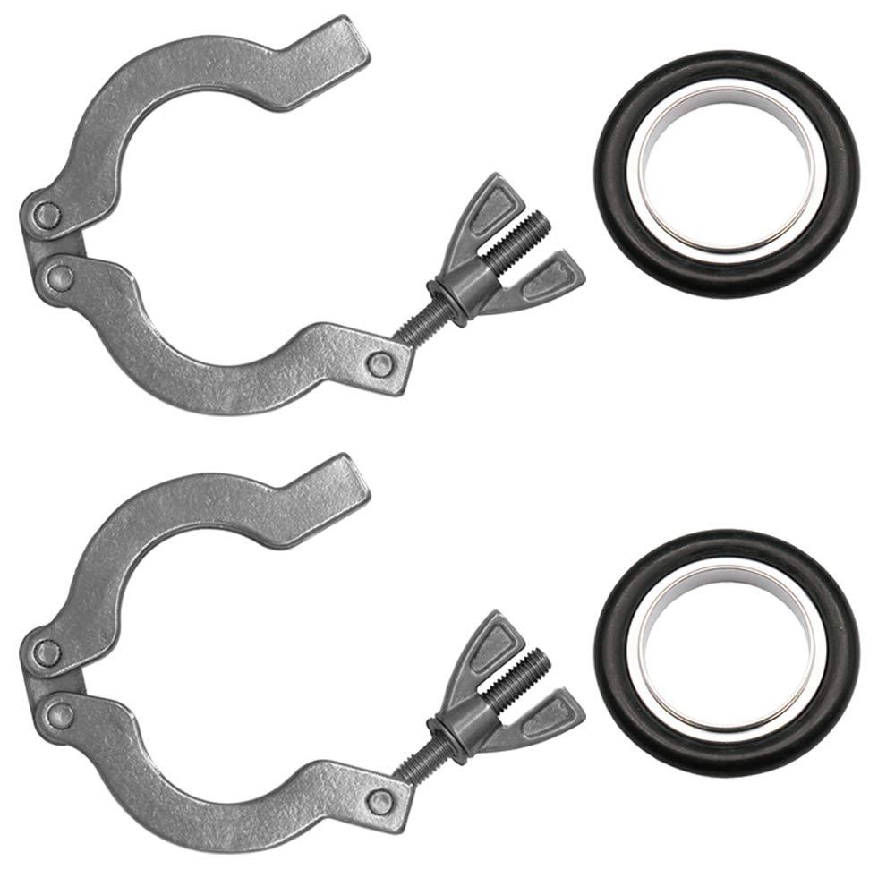 2 Sets KF16 Stainless 304 Clamp Ring + KF16 Aluminum & Fluoro Rubber(FKM) Centering Ring, Vacuum Adapter