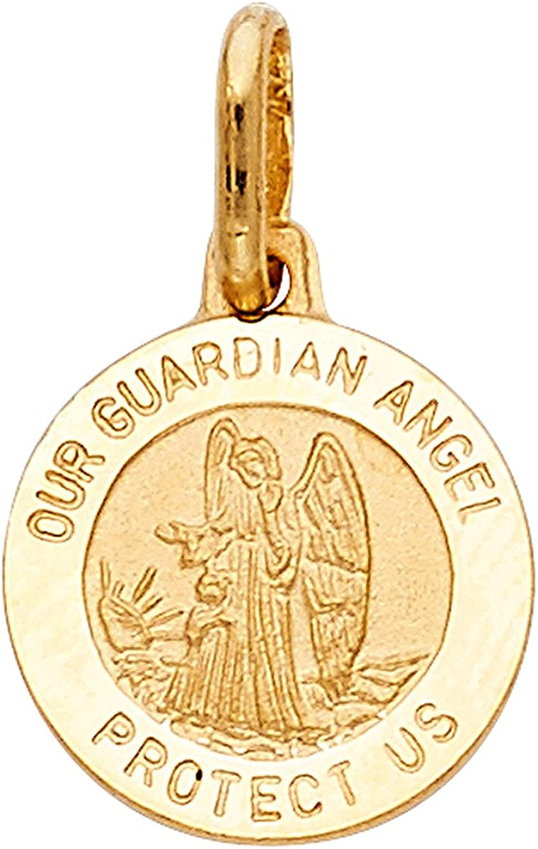 Top Gold /& Diamond Jewelry 14k Yellow//White Gold Our Guardian Angel Religious Pendant