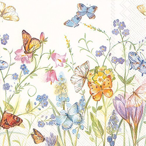 Cocktail Napkins 3 Ply (Celebrate the Home Spring 3-Ply Paper Cocktail Napkins, Butterflies and Blossoms, 20 Count)