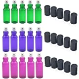SUNREEK 5ml Glass Refillable Bottles with Stainless Steel Roller Balls, Set of 15 for Aromatherapy, Essential Oils, Perfumes, Lip Balms (5Pcs Green, 5Pcs Purple, 5Pcs Violet Colored)