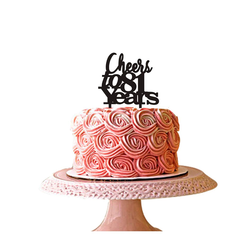 Rose Gold Glitter Happy 81st Birthday Cake Topper Hello 81 Cheers to 81 Years Party Decoration Supplies