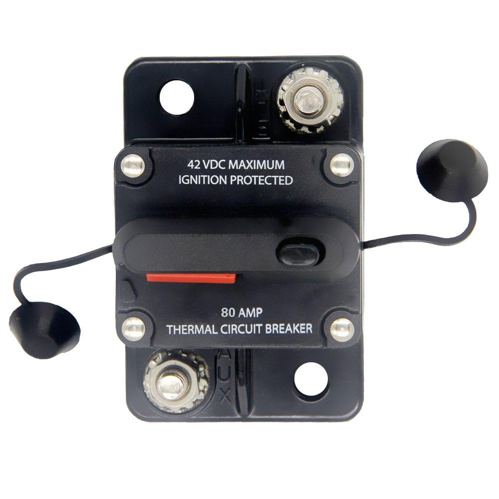 ZOOKOTO 80 Amp Car Automotive Marine Boat Audio Circuit Breaker with Manual Reset, 12V- 42VDC, Waterproof (80A)