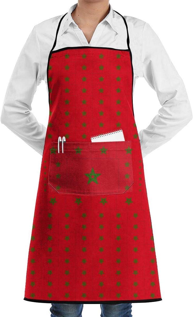 dfhfdsh Delantales,Delantales para barbacoas y ahumadores Morocco Flag Bib Apron Chef Apron with Pockets For Men and Women Prossional Gardening Gifts