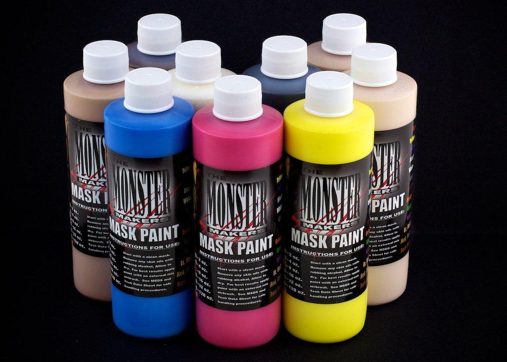 The Monster Makers Latex Mask Paint 9 Color Kit (4oz Bottles)
