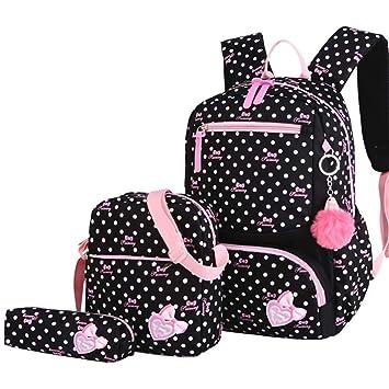 NEW Girls Toddler Kids Child Black Pink Backpack Schoolbag Shoulder School Bag