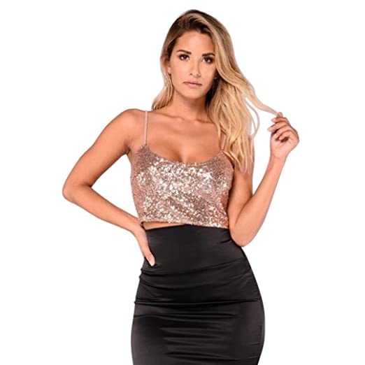 WILLTOO Womens Cami Top Sexy Crop Top Blouse Stylish Vest Tank with Sequins  (✿Gold