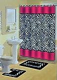 Pink Zebra Print Shower Curtain Pink Zebra Stripes Animal Print 15 Pcs Shower Curtain w. Hooks Bathroom Rug Set