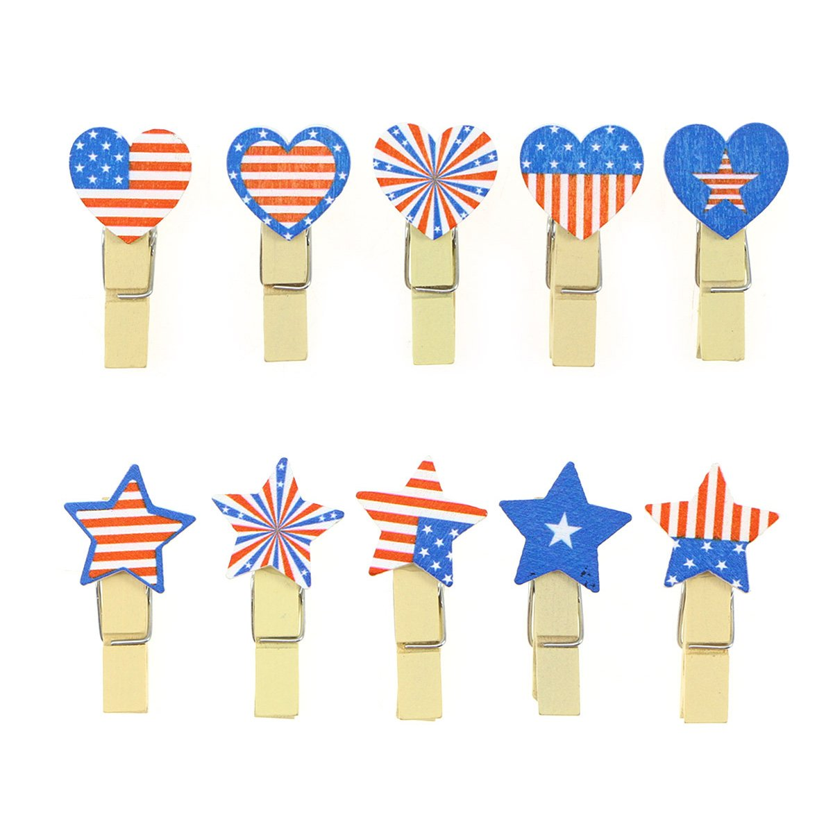 Fenical 100pcs Patriotic Photo Clip Pins American Flag Note Memo Card Postcard Holder Arts and Crafts Decoration