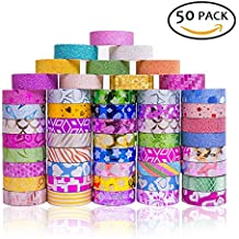 50 Rolls Glitter Washi Masking Tape Set, DIY accessories, Great for DIY Decor, Scrapbooking Sticker, Masking Paper Decoration, Tape Adhesive, School Supplies, Arts, Crafts, Bullet Journal, Calendar,