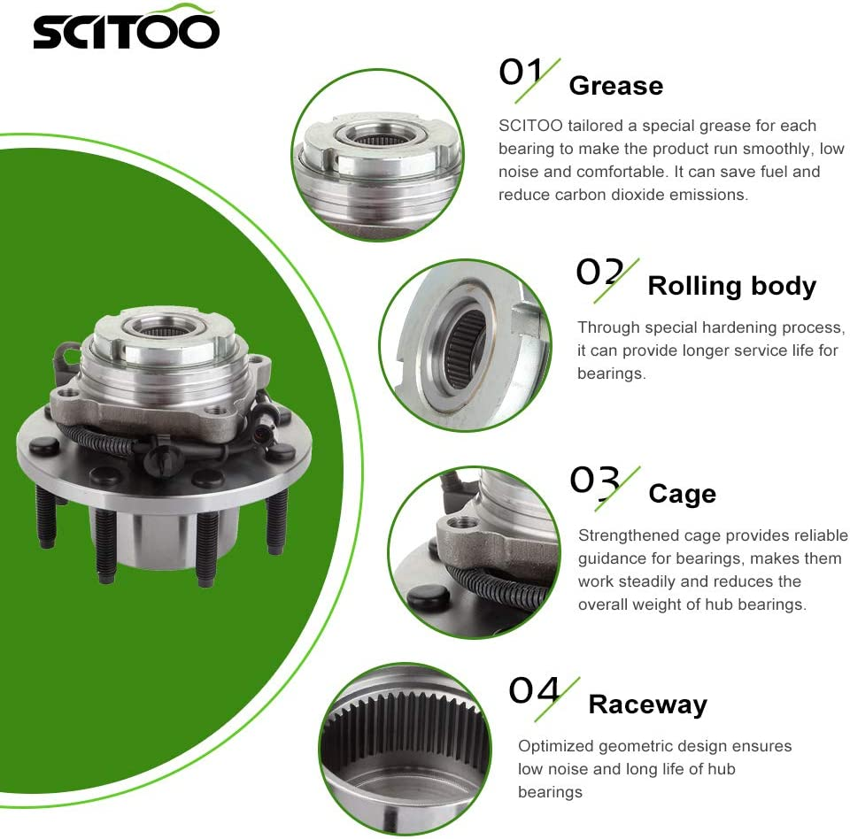 SCITOO Wheel Bearing and Hub Assembly Front for Ford F-250 F-350 SD 4x4//4WD Hub Bearing Set w//ABS 515020 1 Pcs