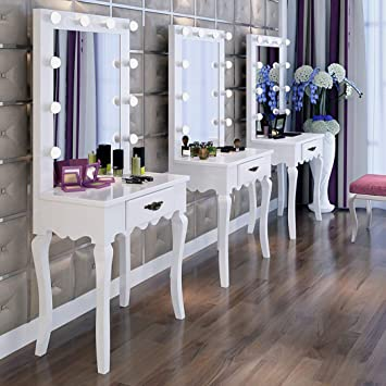 Hollywood Lighted Makeup Vanity Mirror With Table,Bedroom Makeup Vanity  Mirror With Lights,Makeup Vanity Table Set