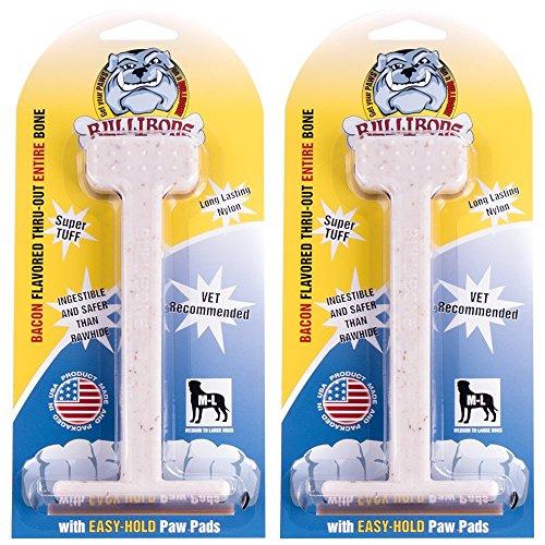 Bullibone Nylon Dog Chew Toy Bacon Large Nylon Bone - 2 Pack - Improves Dental Hygiene, Easy to Grip Bottom, and Permeated With Flavor