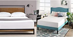 Zinus Suzanne Metal and Wood Platform Bed with Headboard/Box Spring Optional, Full & 12 Inch Green Tea Memory Foam Mattress/CertiPUR-US Certified/Bed-in-a-Box/Pressure Relieving, Full