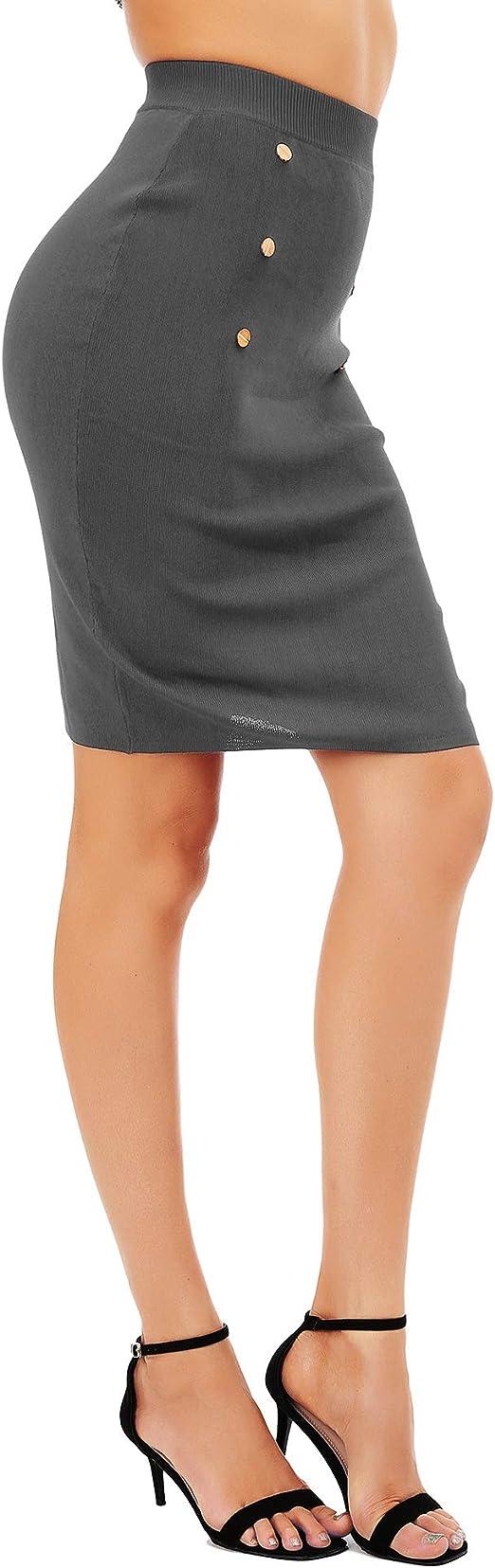 FISOUL Falda de Punto Mujeres Breve Color sólido Cintura Alta ...
