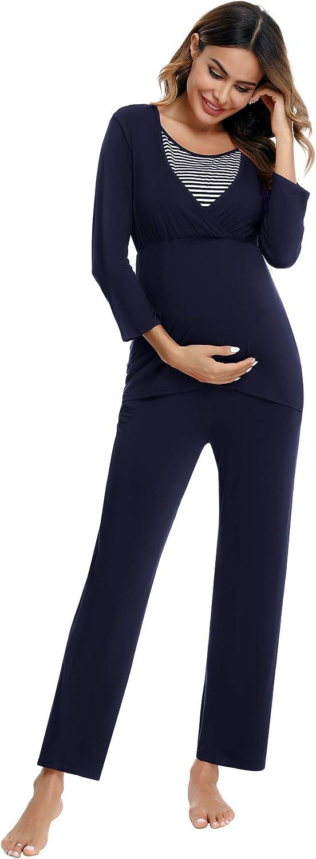 Akalnny Damen Stillpyjama lang Umstandspyjama Set Baumwolle Schwanger Langarm T Shirt Stillfunktion Pyjama Stillzeit Schlafanzug f/ür Schwangerschaft Geschenk
